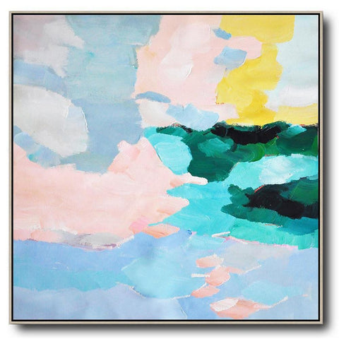 Square Abstract Landscape Painting #X96A-Abstract Art-CZ Art Design(Celine Ziang Art)