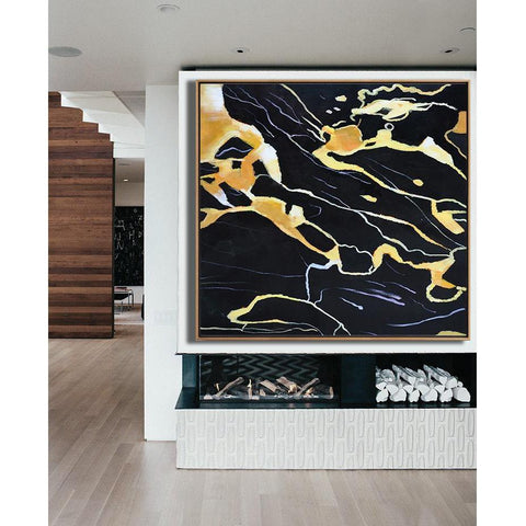 Square Abstract Marble Painting #X118A-Abstract Art-CZ Art Design(Celine Ziang Art)