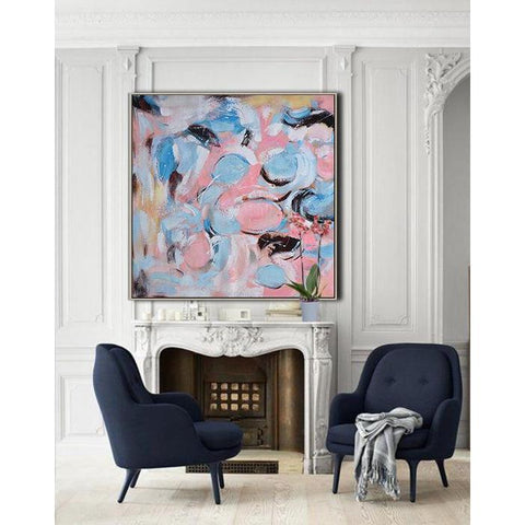 Square Abstract Marble Painting #X88A-Abstract Art-CZ Art Design(Celine Ziang Art)
