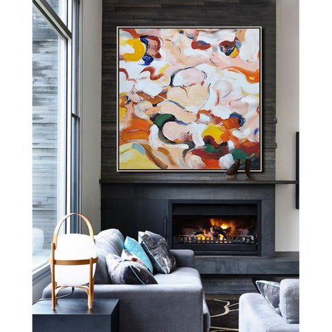 Square Abstract Marble Painting #X91A-Abstract Art-CZ Art Design(Celine Ziang Art)
