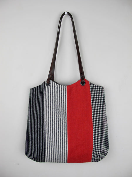 Patchwork Tote Bag - red stripe IV
