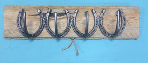 Four Single Horseshoe Hanger with Board Backing