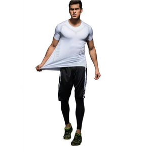 C - Elite II White Short Sleeve Top Compression Tights