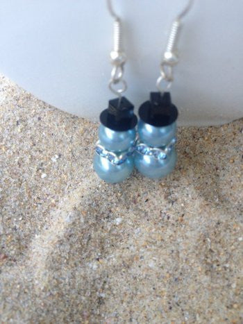 Blue Swarovski Crystal Pearl Snowman Earrings