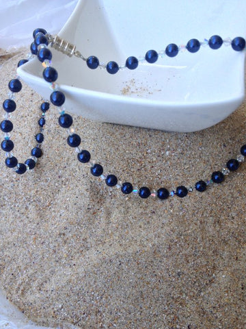 Navy Blue & Clear Swarovski Crystal Necklace