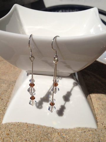 Brown Swarovski Crystal Earrings