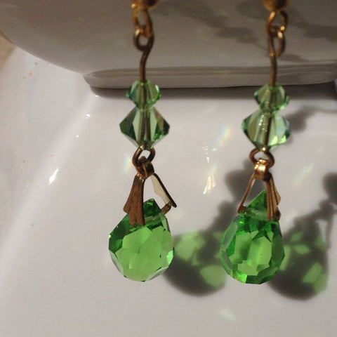 Green Tear Drop Swarovski Crystal Earrings
