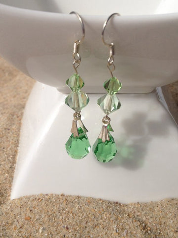 Green Swarovski Crystal Tear Drop Earrings