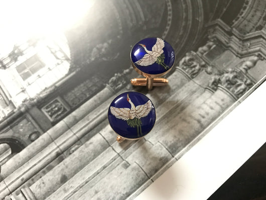 Hand-painted Crane Cufflinks