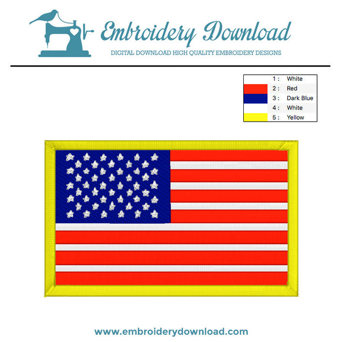 American flag embroidery machine design