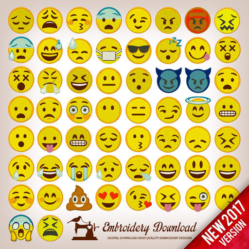 Emoticons Emoji Pack 58 Collection - Embroidery design download