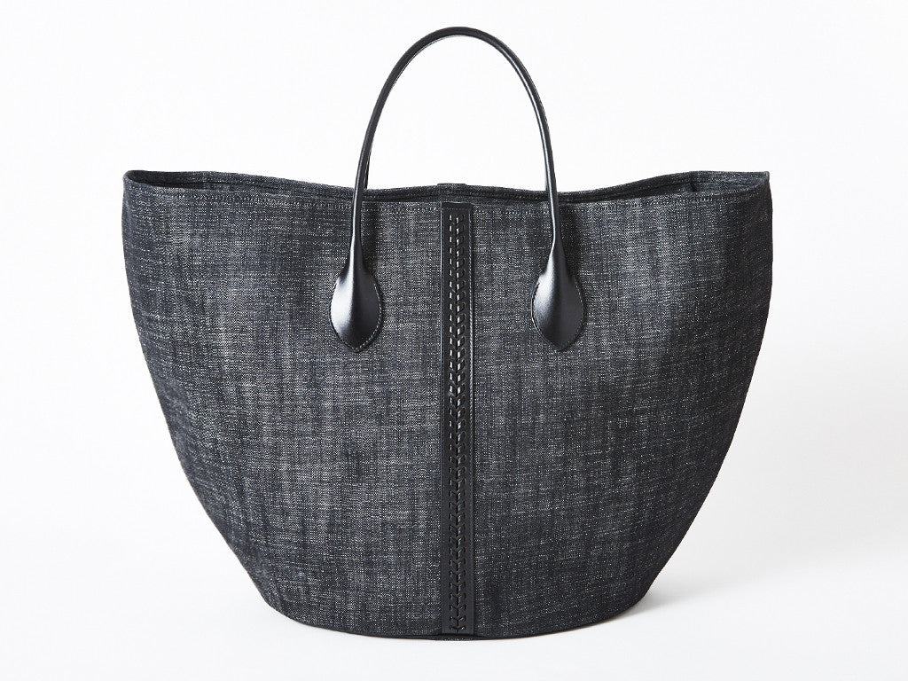 Alaia Super Large Denim and Leather Tote