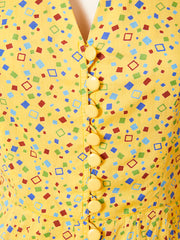 Yves Saint Laurent Geometric Print Tiered Day Dress C. 1970's