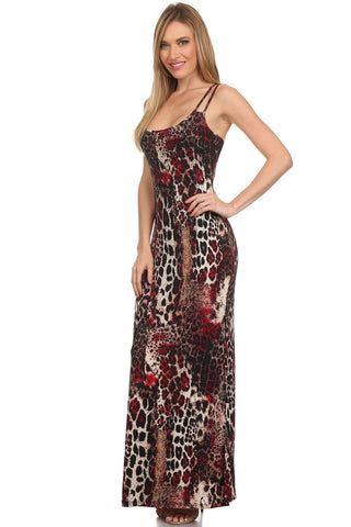 animal print studded maxi dress