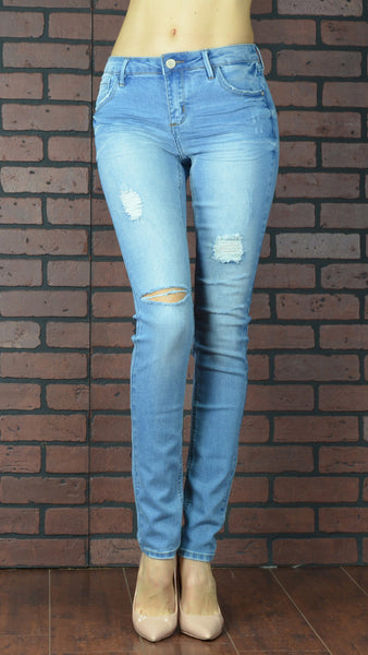 skinny distressed light blue jeans