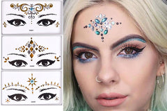 Stick on Festival Face Jewels - temporary Tattoo Styles