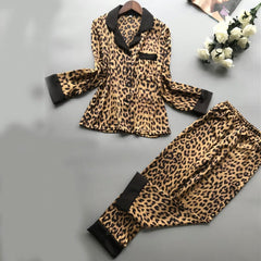 Leopard Print Silky Long Sleeve Trouser Set M-XL