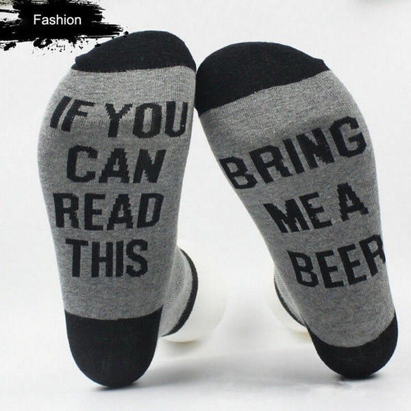 "Novelty Socks: ""If you can read this Bring me a Beer"""