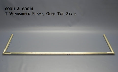 "60014-39P T-Windshield Frame, Polished, Open Top Frame, 14"" height, 39 5/8"" wide"