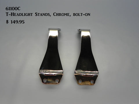 61100C T-Headlight Stands, Chrome, bolt-on