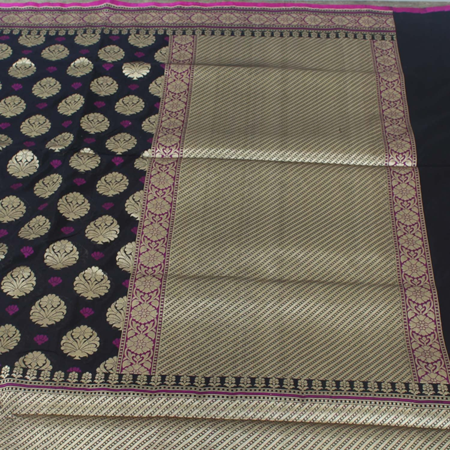 Black Pure Silk Georgette Banarasi Handloom Saree - Tilfi - 3