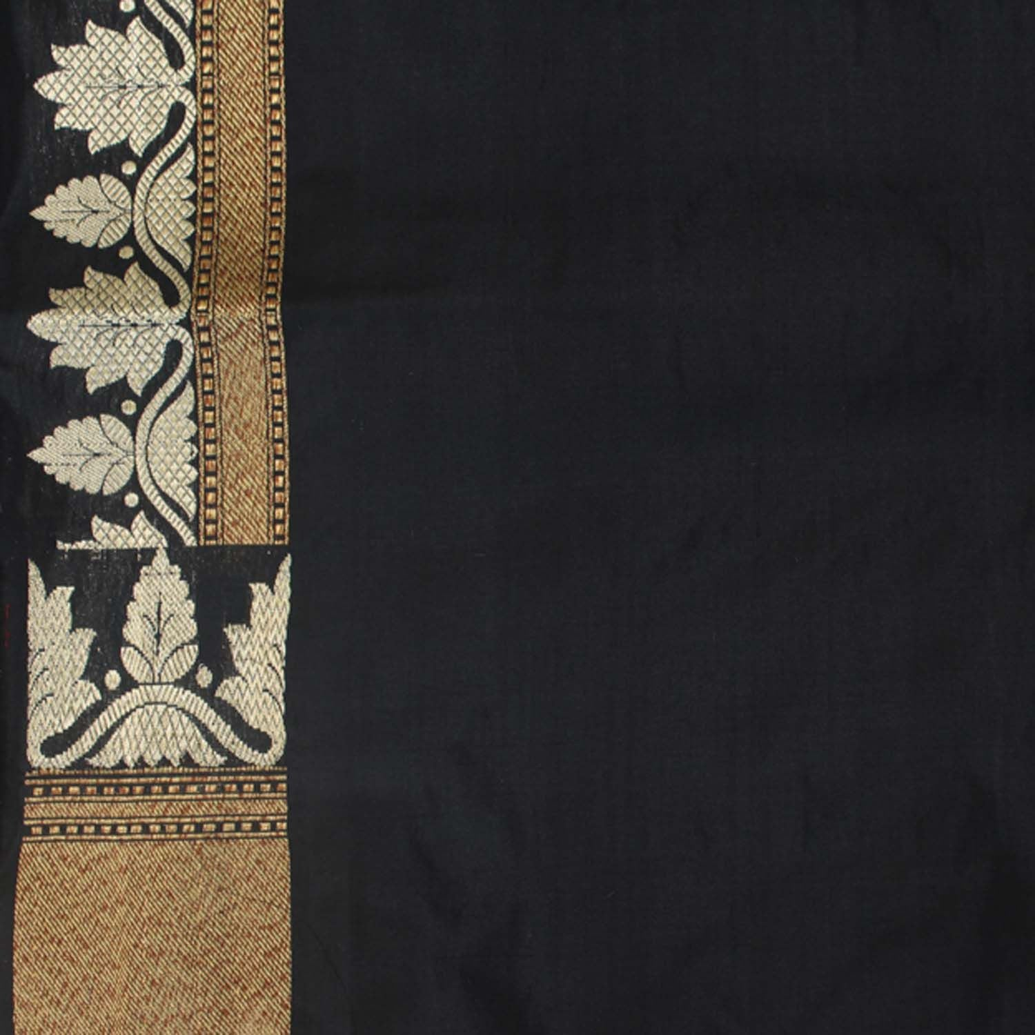 Black Pure Silk Georgette Handloom Banarasi Saree - Tilfi - 6