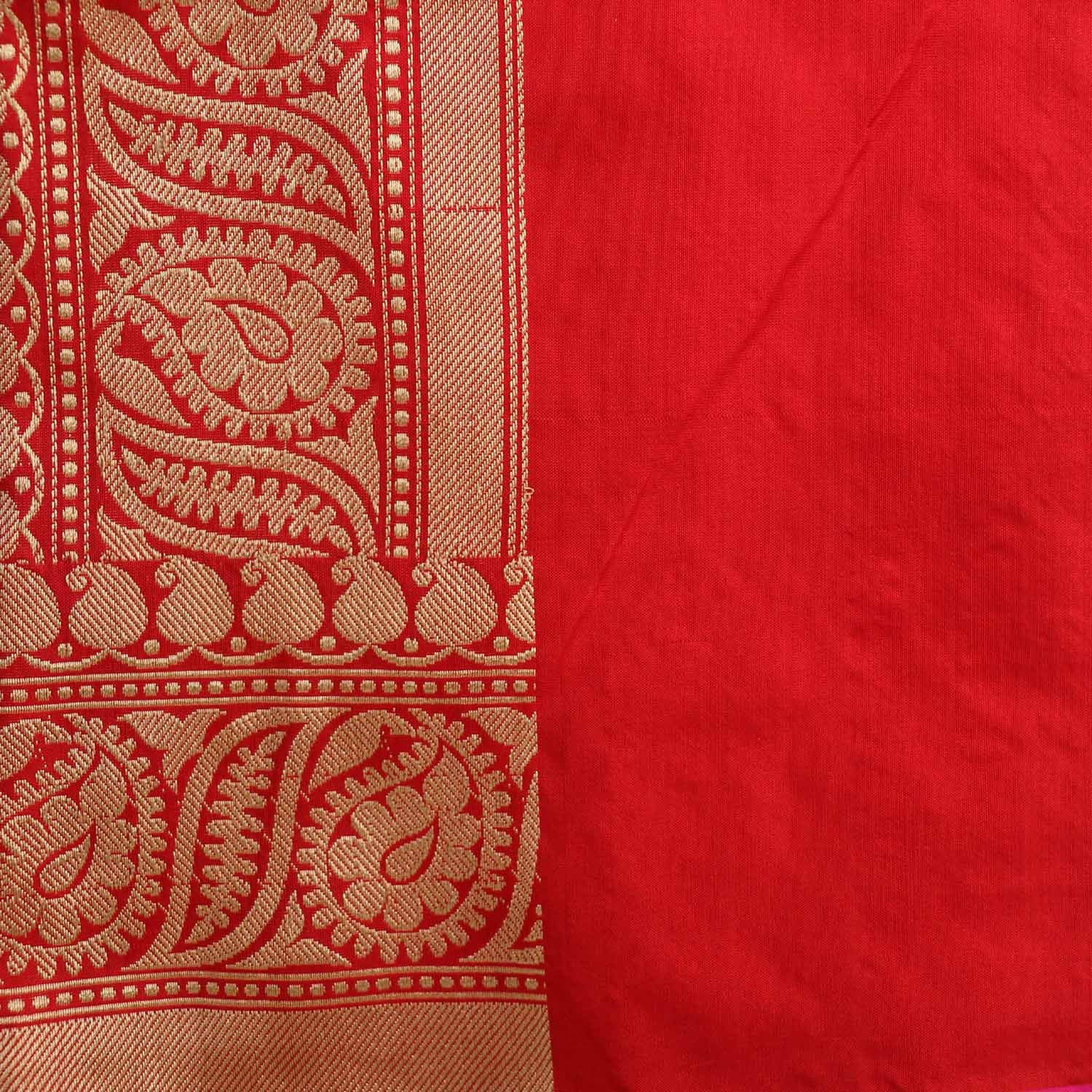 Red Pure Katan Silk Banarasi Handloom Saree - Tilfi - 5