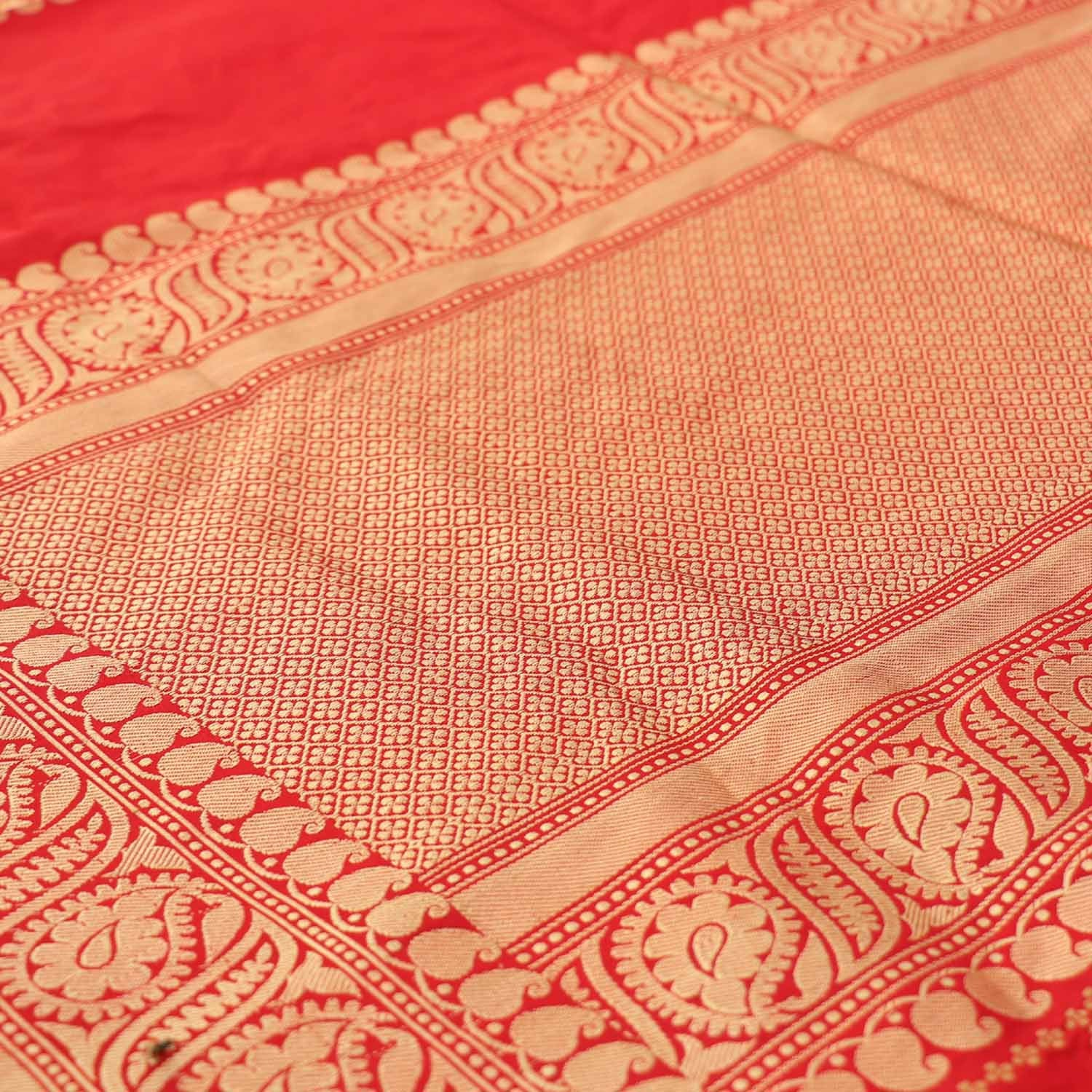 Red Pure Katan Silk Banarasi Handloom Saree - Tilfi - 2