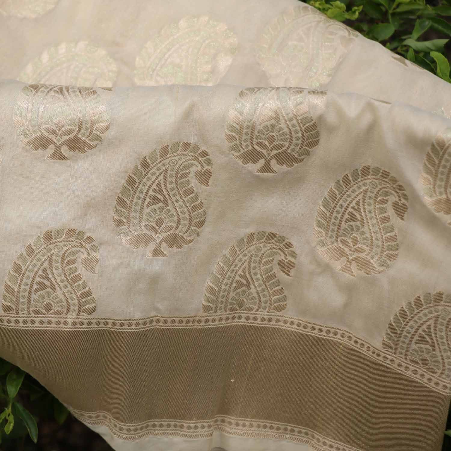 Off-White Pure Silk Georgette Banarasi Handloom Saree - Tilfi