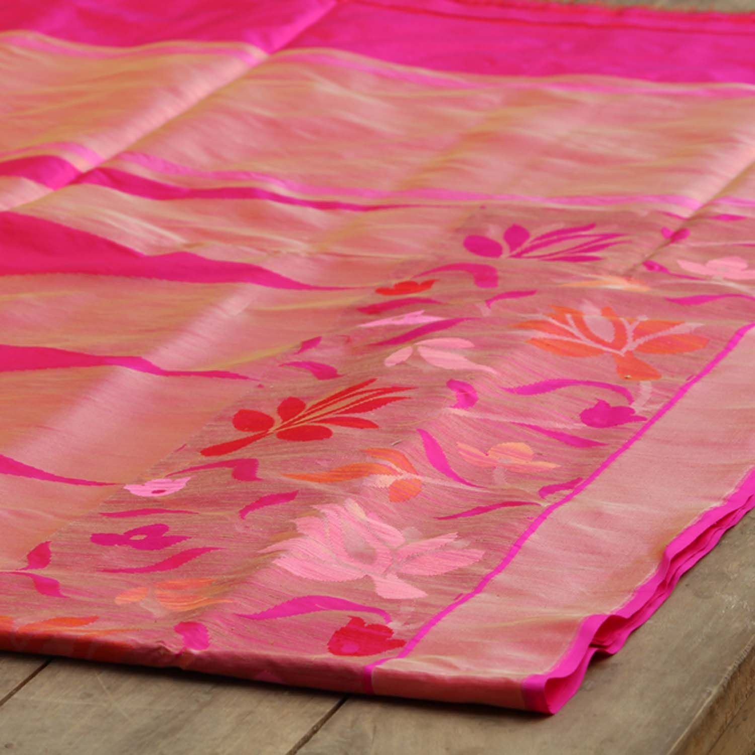 Rust-Indian Pink Shot Color Pure Katan Silk Banarasi Handloom Saree - Tilfi - 2