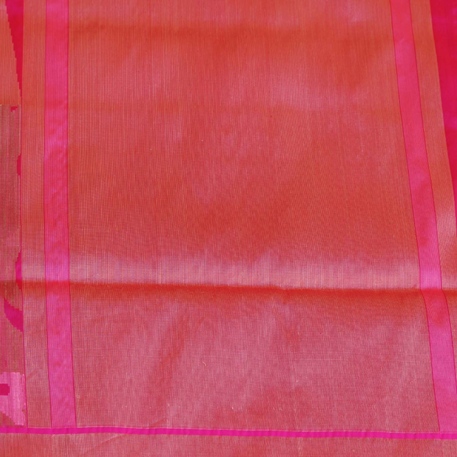 Rust-Indian Pink Shot Color Pure Katan Silk Banarasi Handloom Saree - Tilfi - 5