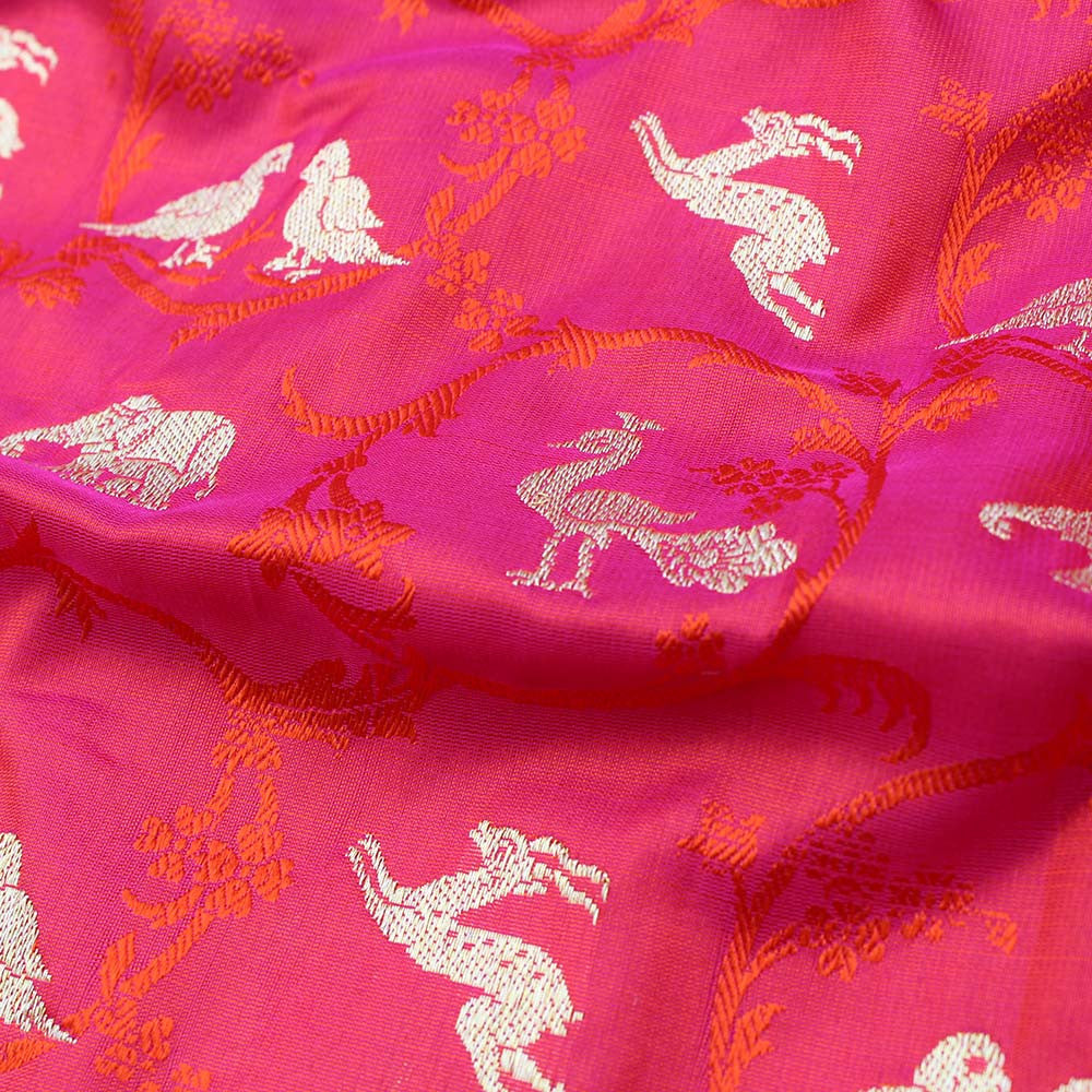 Red-Indian Pink Pure Katan Silk Banarasi Handloom Dupatta