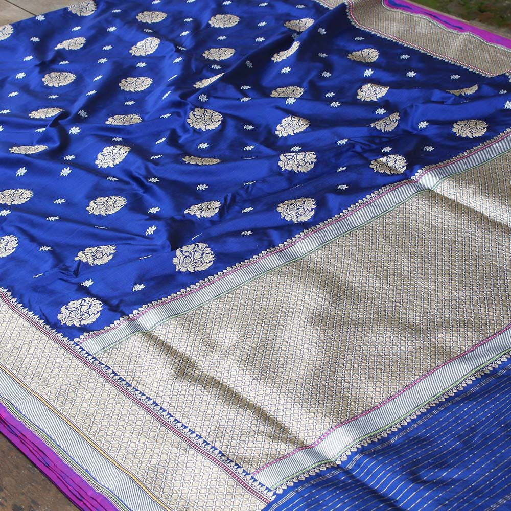 Midnight Blue Pure Katan Silk Banarasi Handloom Saree - Tilfi - 2
