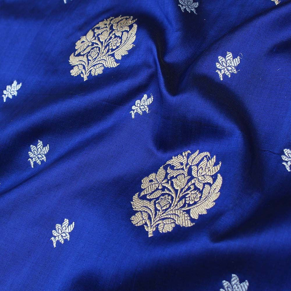 Midnight Blue Pure Katan Silk Banarasi Handloom Saree - Tilfi - 4