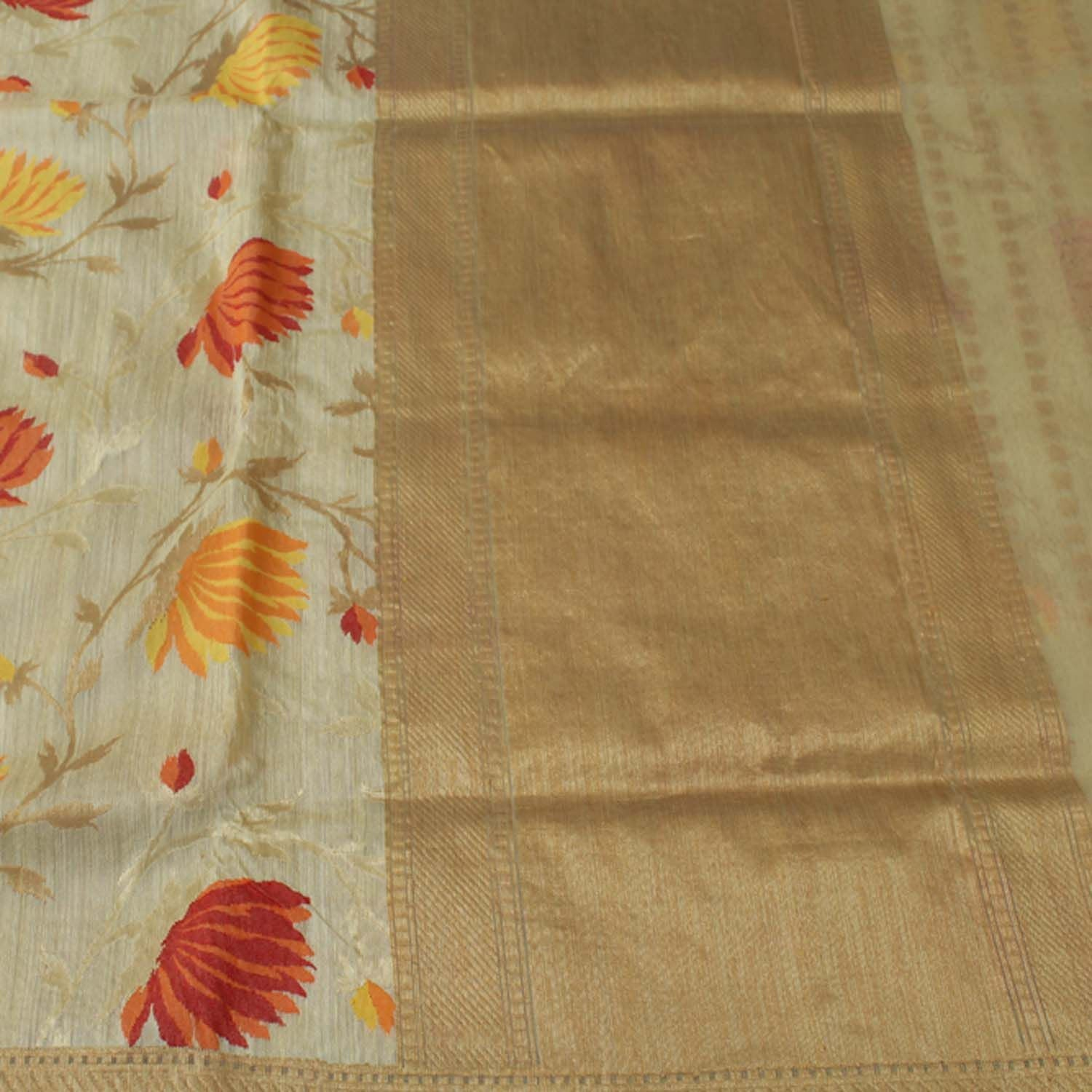 Off-white Pure Dupion Silk Banarasi Handloom Saree - Tilfi