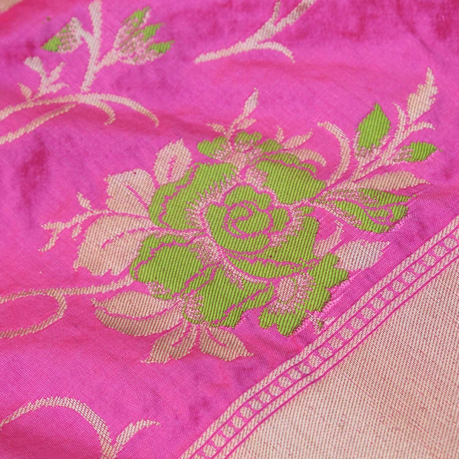 Indian Pink-Rose Pink Pure Katan Silk  Banarasi Handloom Dupatta - Tilfi
