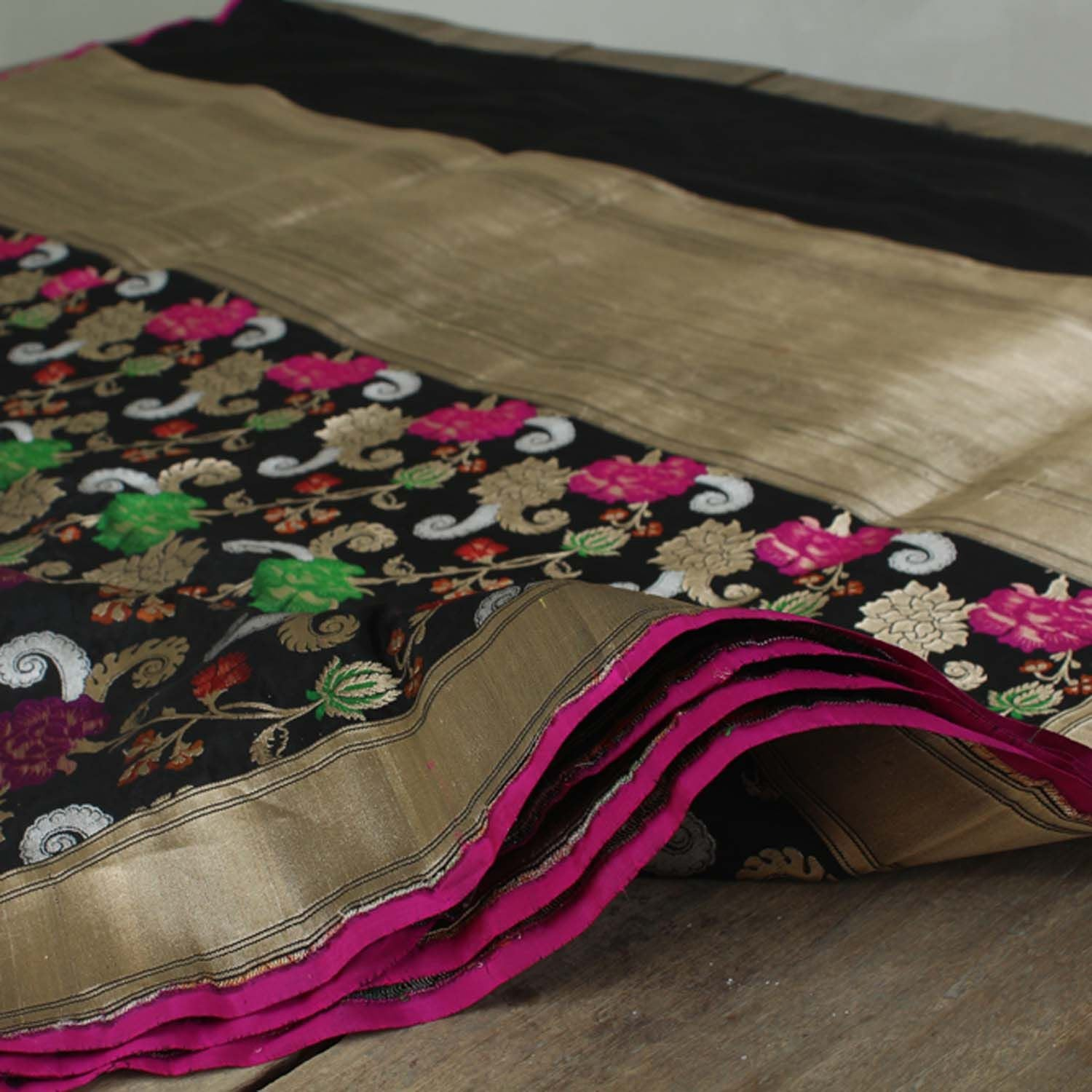 Black Pure Katan Silk Banarasi Handloom Saree - Tilfi