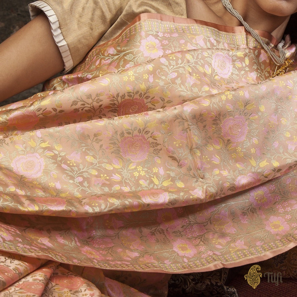 Coral Peach Pure Soft Satin Silk Banarasi Handloom Saree