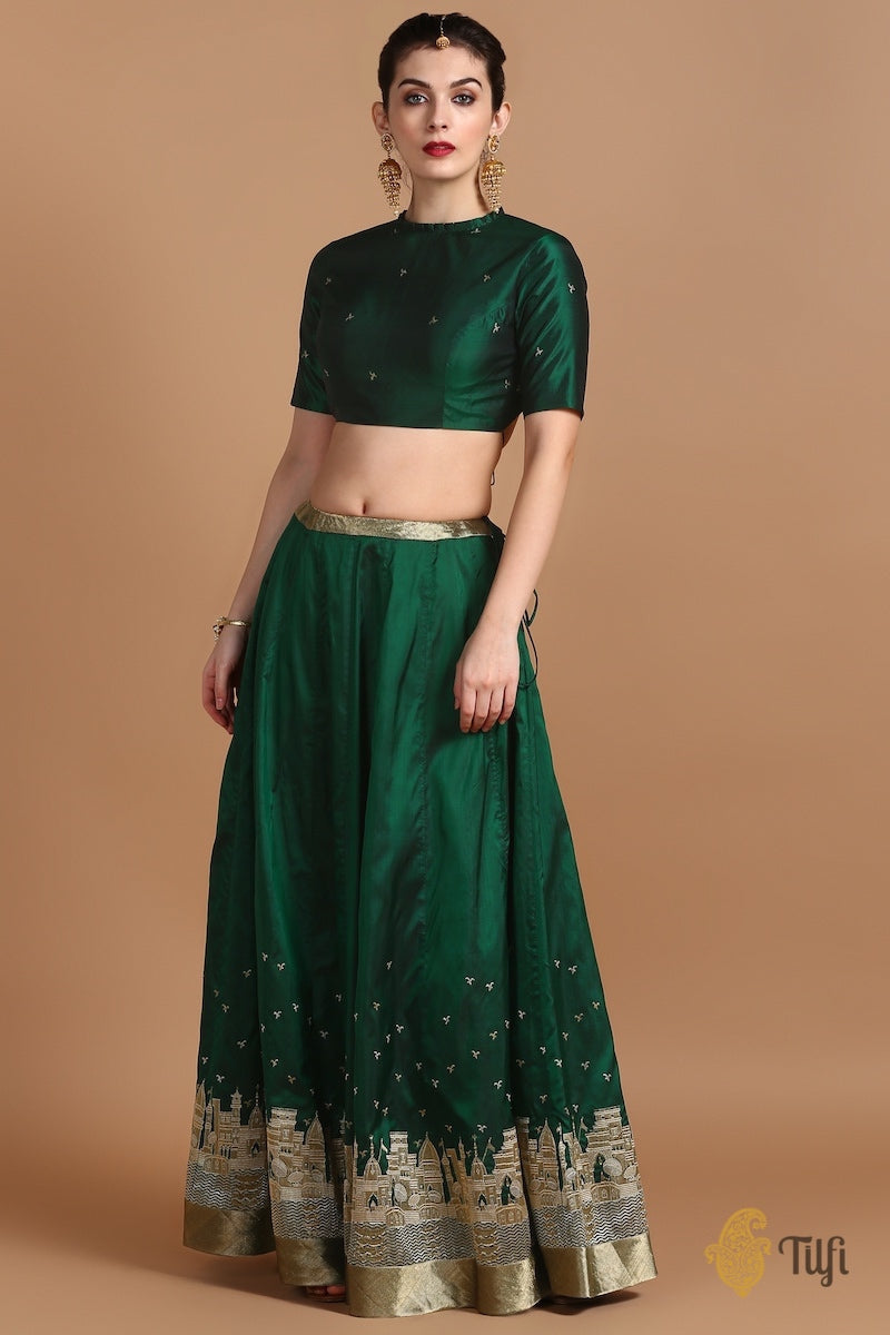 Emerald Green Pure Katan Silk Banarasi Handloom Made-to-Measure Lehenga