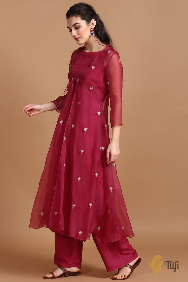 Mulberry Red Silk-Organza Suit Set