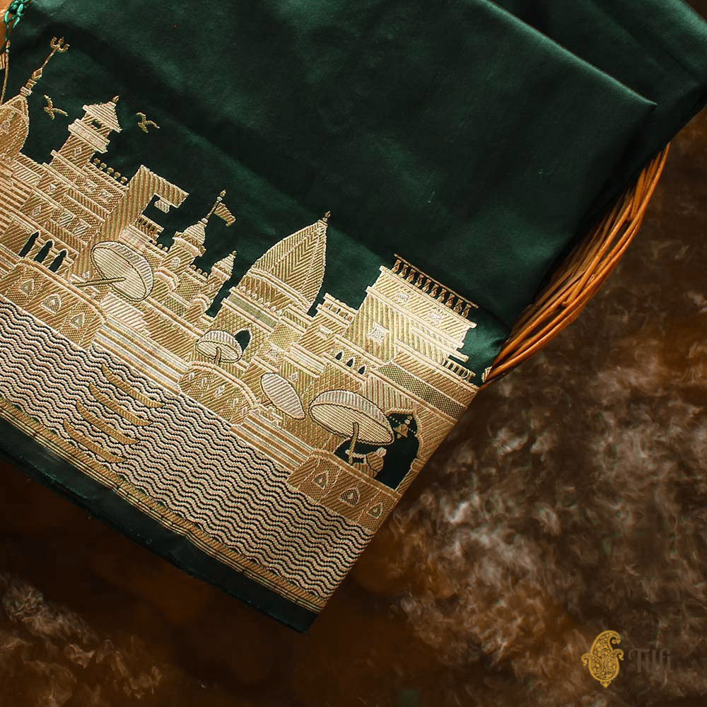 Bottle Green Pure Katan Silk Banarasi Handloom Dupatta