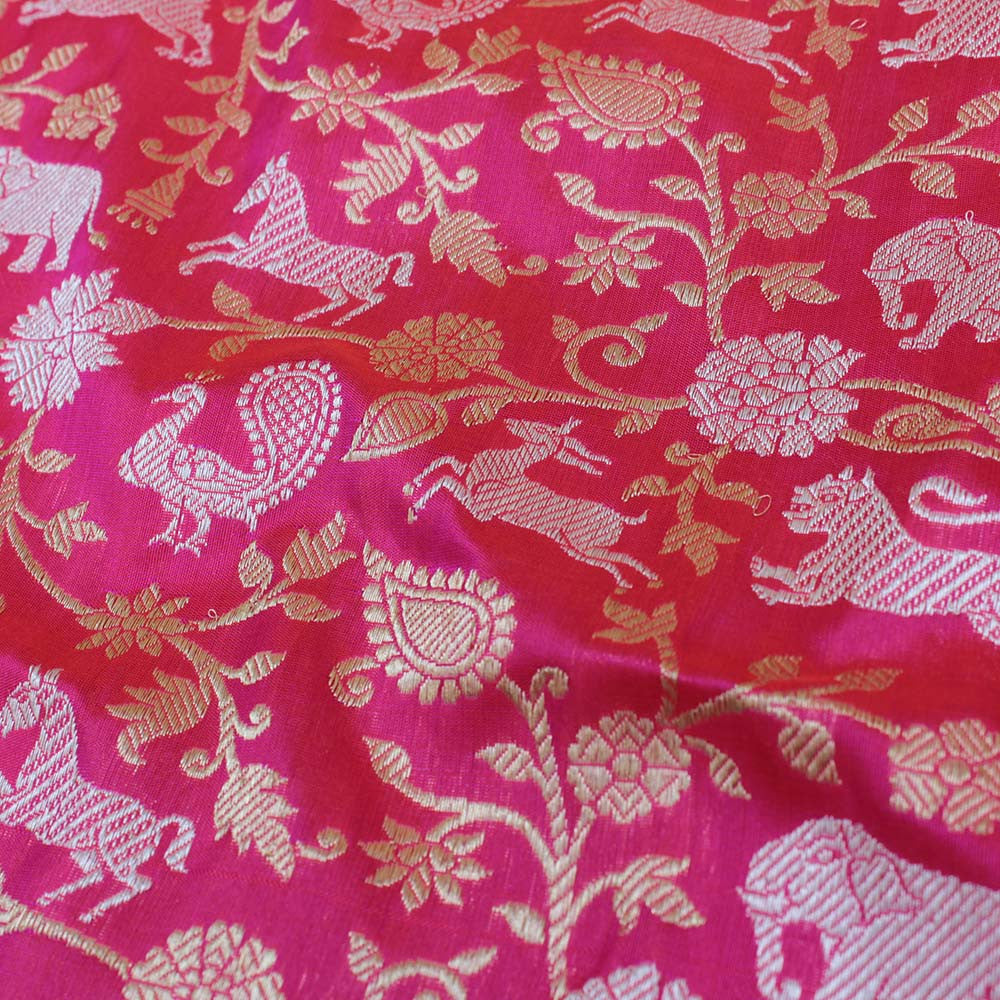 Pink-Orange Pure Katan Silk Banarasi Handloom Saree