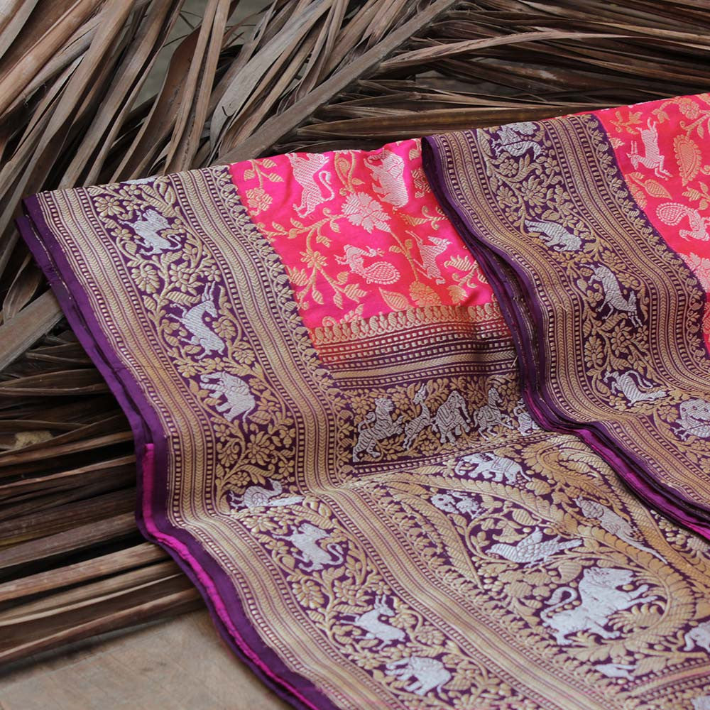 Pink-Orange Pure Katan Silk Banarasi Handloom Saree - Tilfi