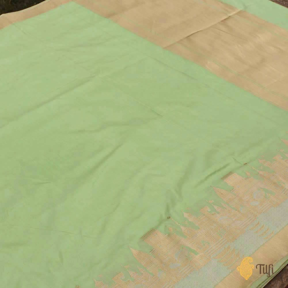 Light Pista Green Pure Katan Silk Banarasi Handloom Saree