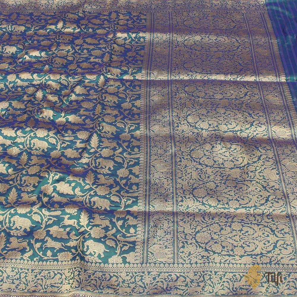 Pre-Order: Royal Blue-Green Pure Katan Silk Banarasi Handloom Saree