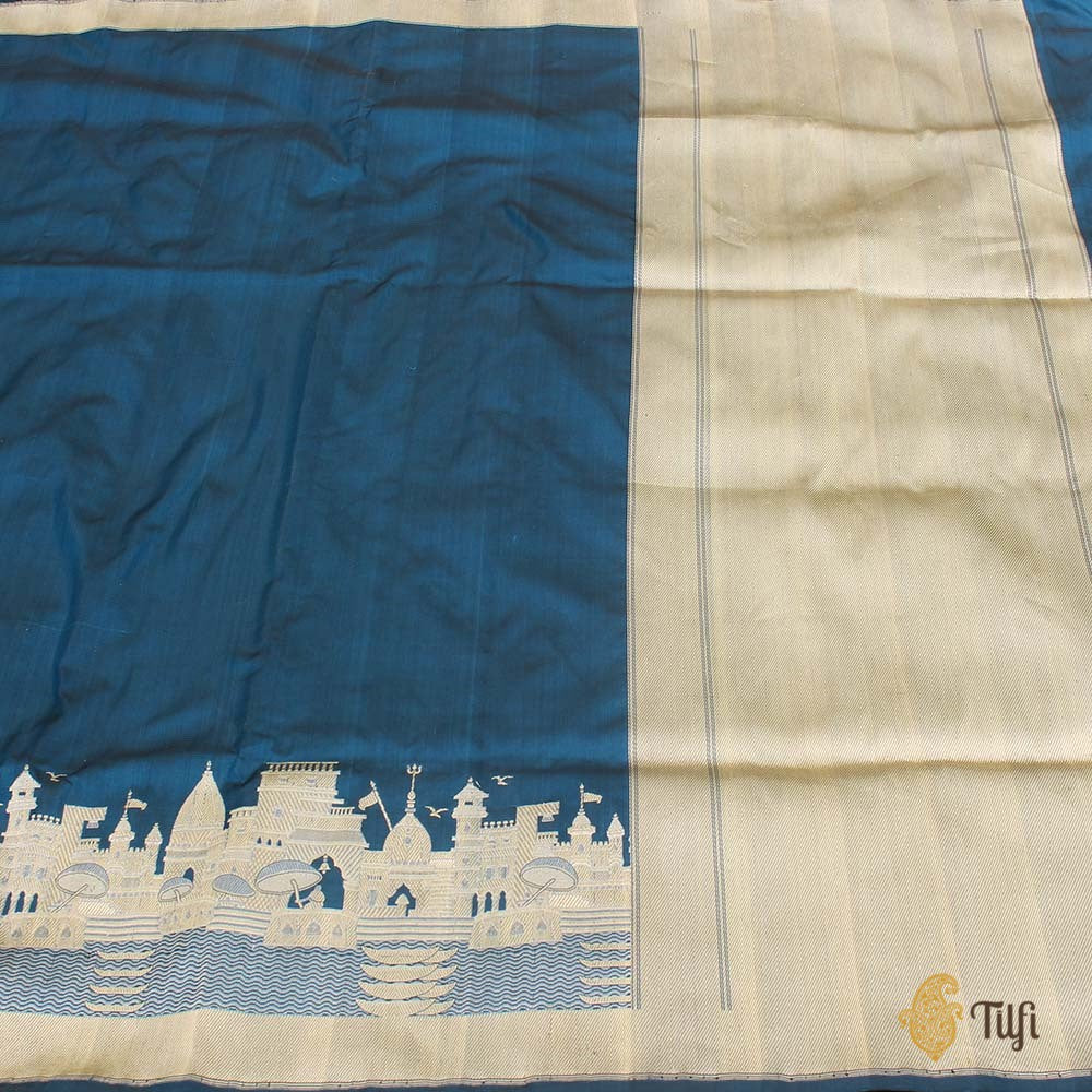 Black-Egyptian Blue Pure Katan Silk Banarasi Handloom Saree