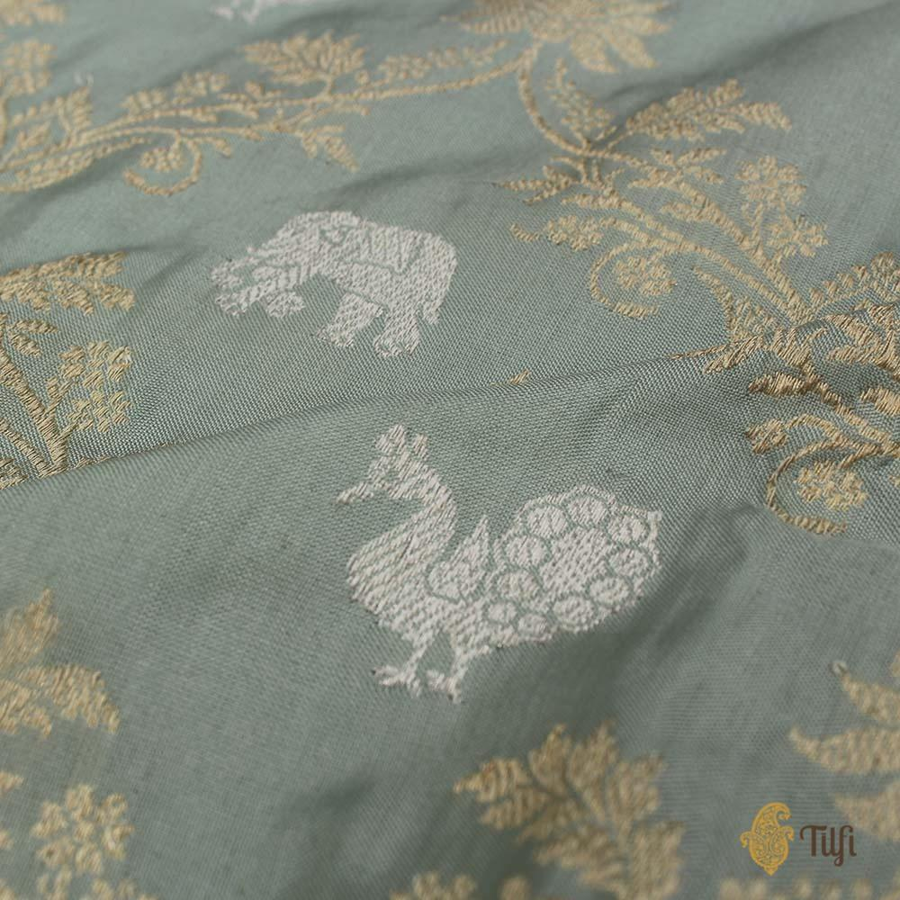 Pale Duck Egg Blue Pure Katan Silk Banarasi Handloom Saree
