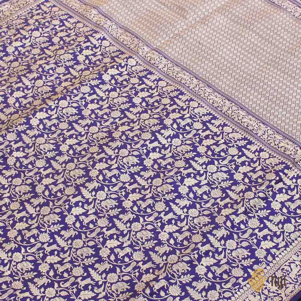 Black-Purple Pure Katan Silk Banarasi Shikaargah Handloom Saree