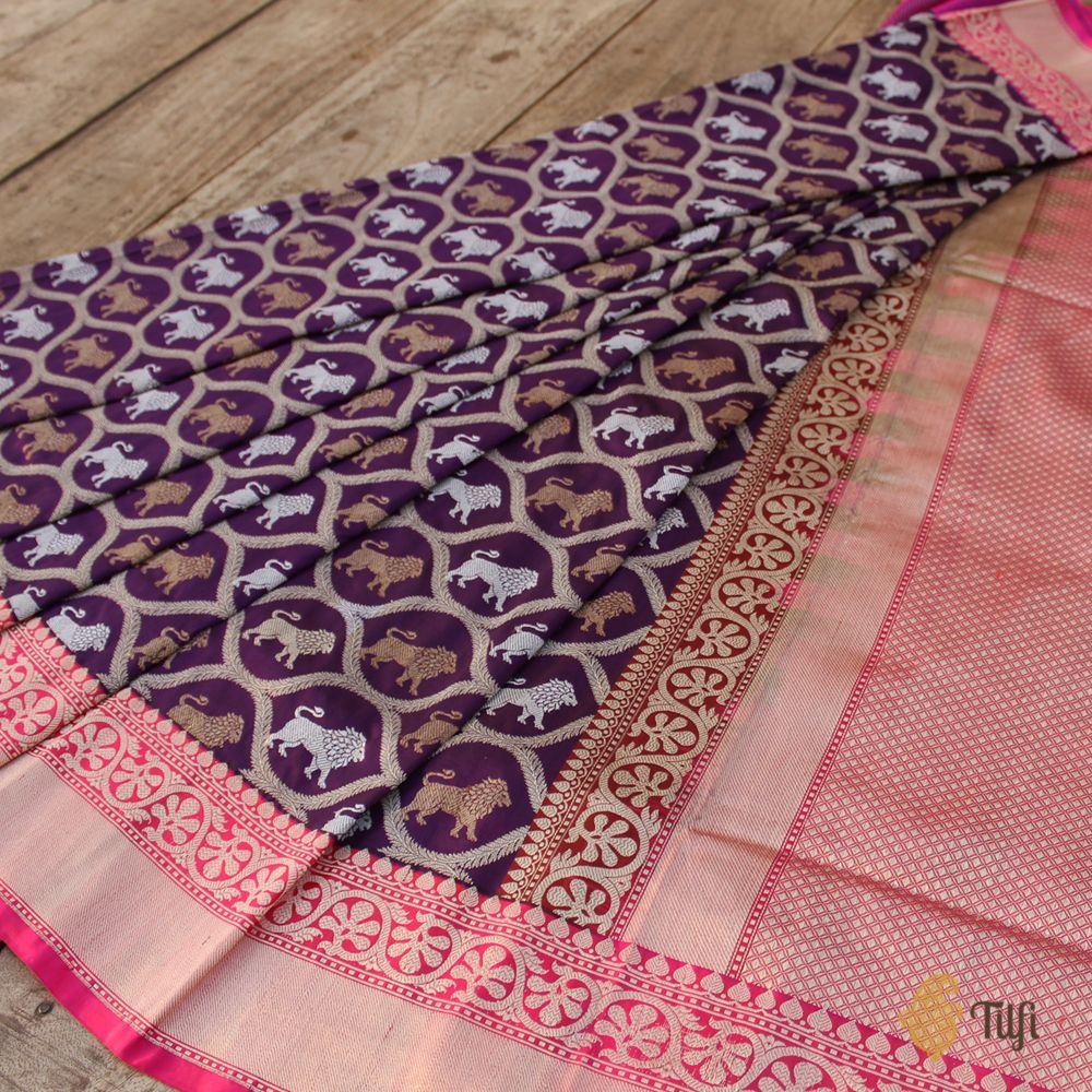 Black-Magenta Blue Pure Katan Silk Banarasi Handloom Saree