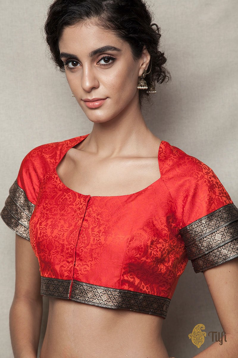 Red-Black Handwoven Tanchoi Stairwell Blouse